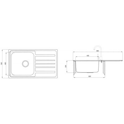 Zlewozmywak stalowy 85x50 cm ZPV0113 Deante Virgo