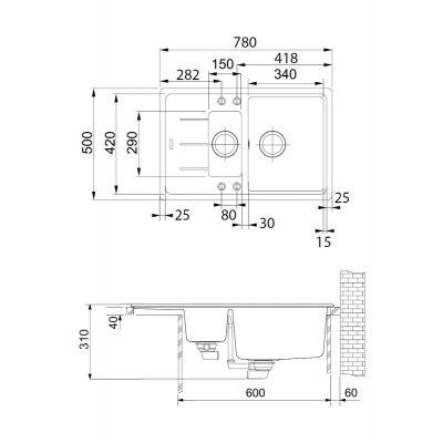 Zlewozmywak granitowy 78x50 cm 1140365419 Franke Basis