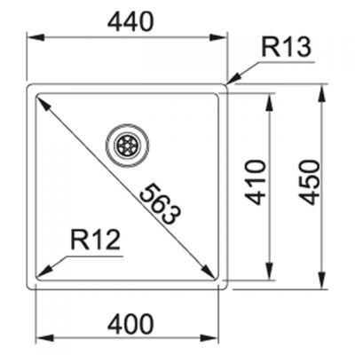 Zlewozmywak stalowy 45x44 cm 1270453654 Franke Box